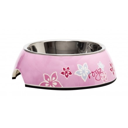 Rogz 2-in-1 Bubble Bowl with Pink Floral Design Available at 5rooms.com
