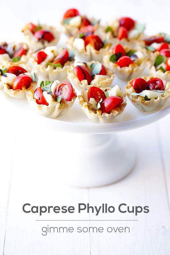 Caprese Phyllo Cups | gimmesomeoven.com #appetizer #caprese