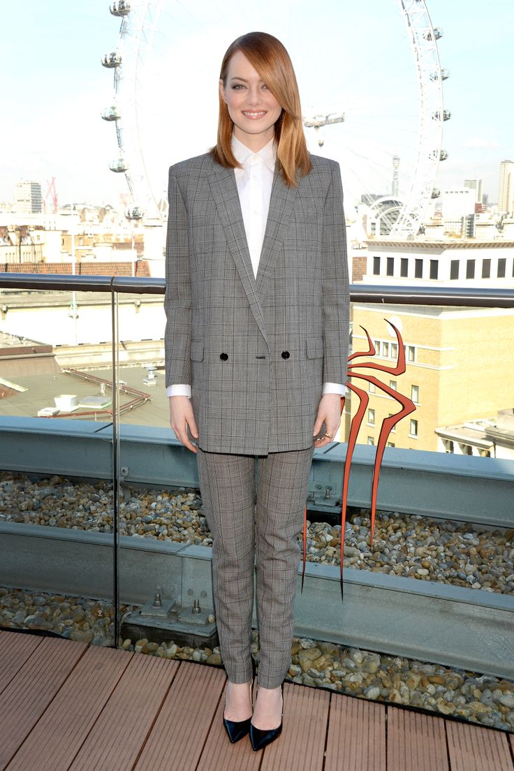 Emma Stone masters menswear in this perfect Saint Laurent suit.