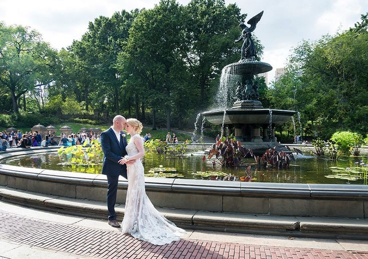 bride and groom, by Bethesda Fountain in Central Park