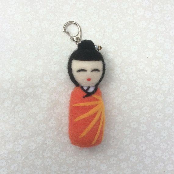 Aiko Needle Felted Kokeshi Doll Keyring. Orange by SweetPeaDolls