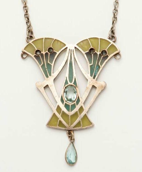 Art Nouveau Silver & Enamel Pendant by Philippe Wolfers