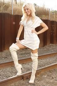 white thigh high boots