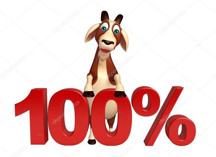 3D tavené ilustrace koza kreslené postavičky s 100 % znamení