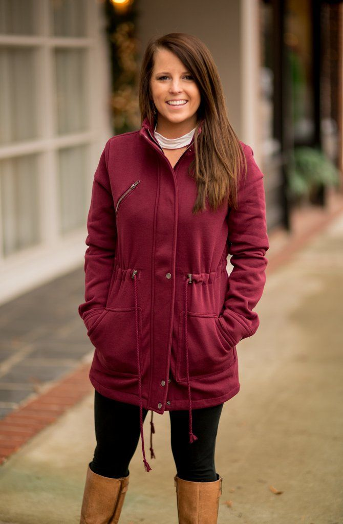 Jaxe + Grace Boutique Lined Burgundy Fleece Jacket - $29