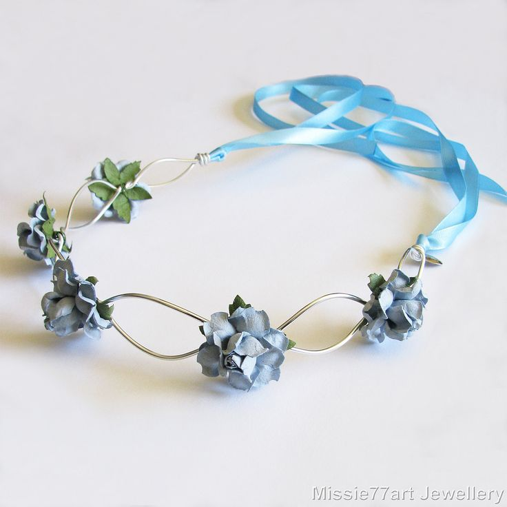 Neela Rose Flower Crown Blue Bridal Headpiece