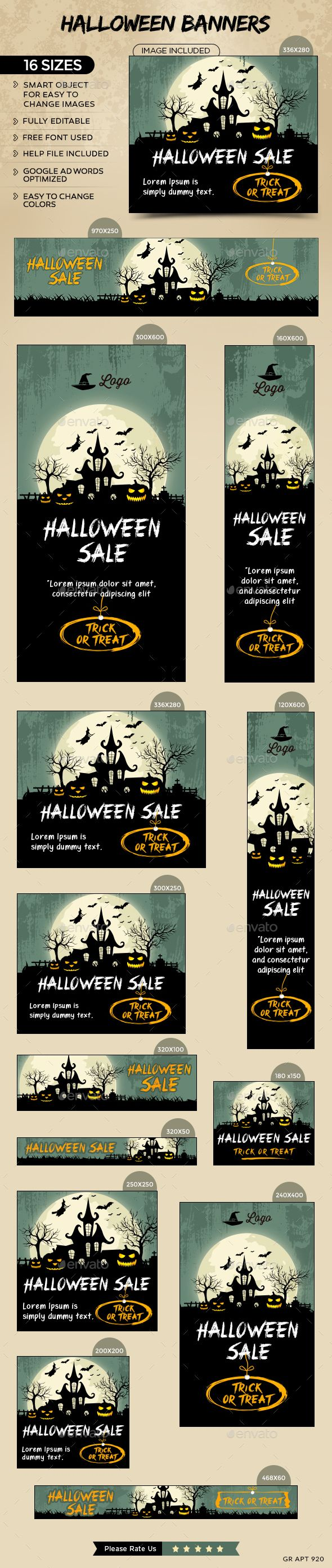 Halloween Sale Web Banners Template PSD #design #ad Download: http://graphicriver.net/item/halloween-sale-banners/13139779?ref=ksioks