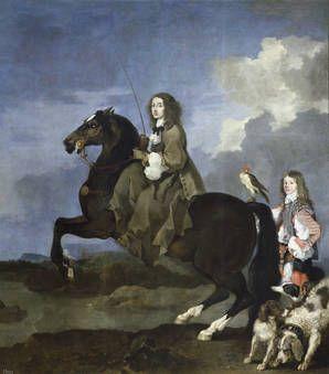 """""""Cristina de Suecia a caballo"""", Sébastien Bourdon, 1653-54, Óleo sobre lienzo"""