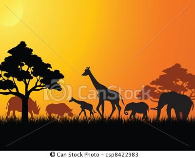 safari animals at sunset