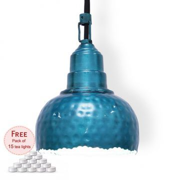 Height Of Designs Green Pendant Lamp With Free Pack Of 15 Tea Lights