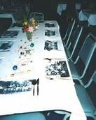 Class Reunion Table Decorations -  Placemats out of photos!  love this!