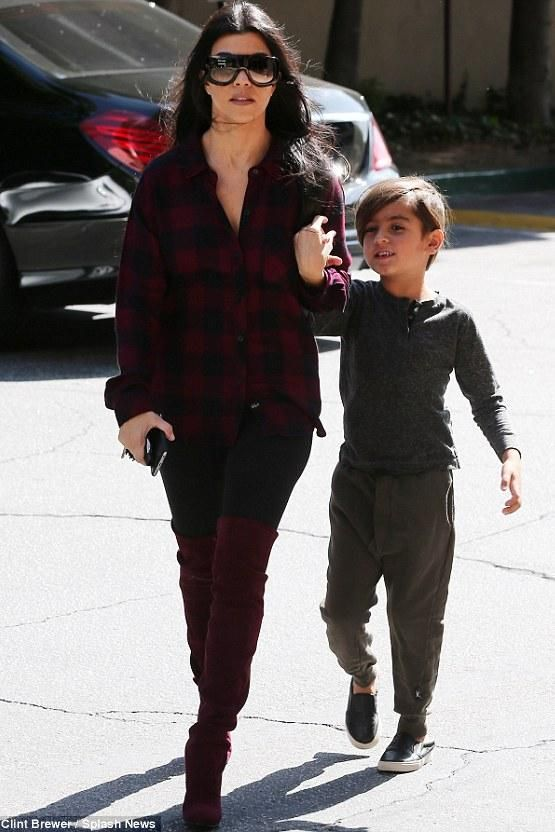 Mason Disick wearing Akid Liv Slip-Ons in Black Embossed Leather and Nununu Light Terry Pants in Olive