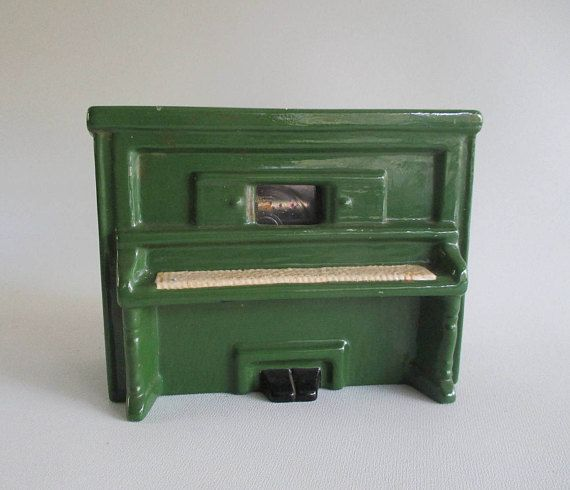 Player Piano Music Box Vintage Green Ceramic 'Sidewalks