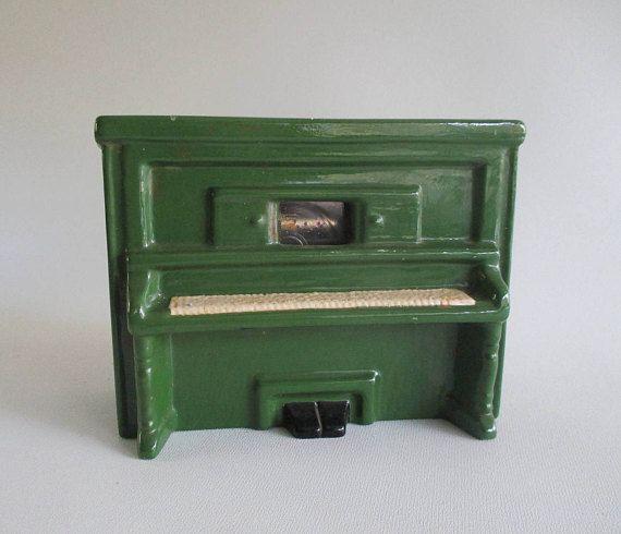 Player Piano Music Box Vintage Green Ceramic 'Sidewalks