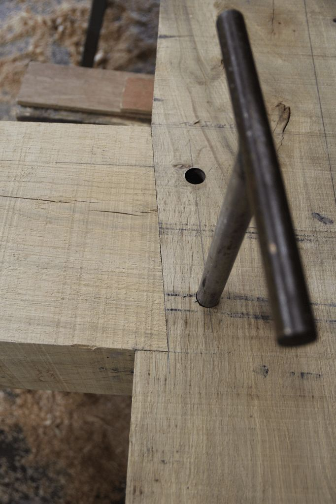 Mortice and tenon with bevelled shoulder #carpentry #timberframe