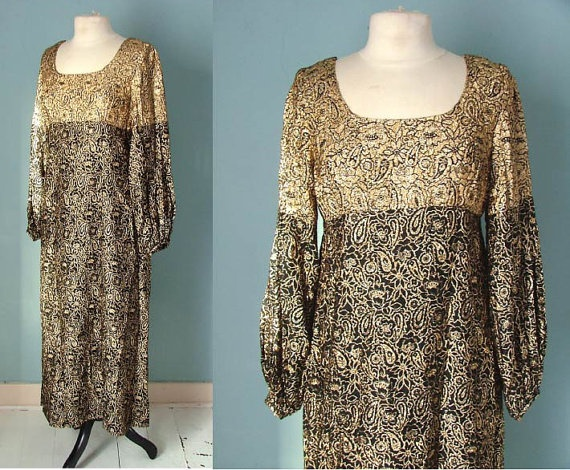Vintage 60s Gold Maxi Dress with Bell by VioletsAtticVintage, £19.00