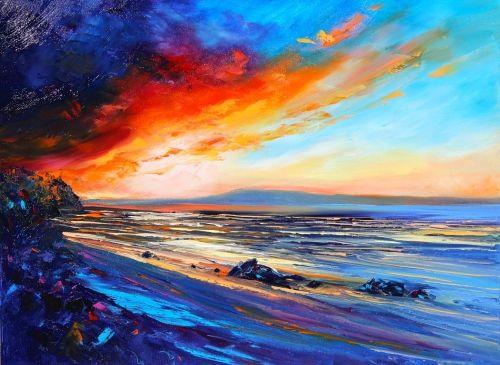 Red Sunset Beach - Helen Blair  $550