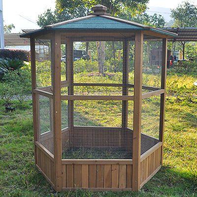 WOODEN AVIARY HEXAGONAL FLIGHT HOUSE CAGE IDEAL FOR BIRDS CHIPMUNKS CATS NEW + | eBay