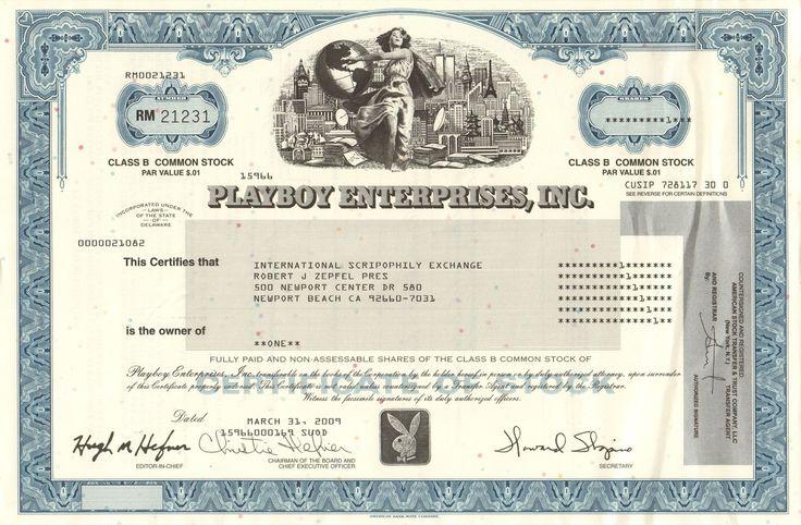 Playboy Enterprises Inc stock certificate 2009 (modern vignette)