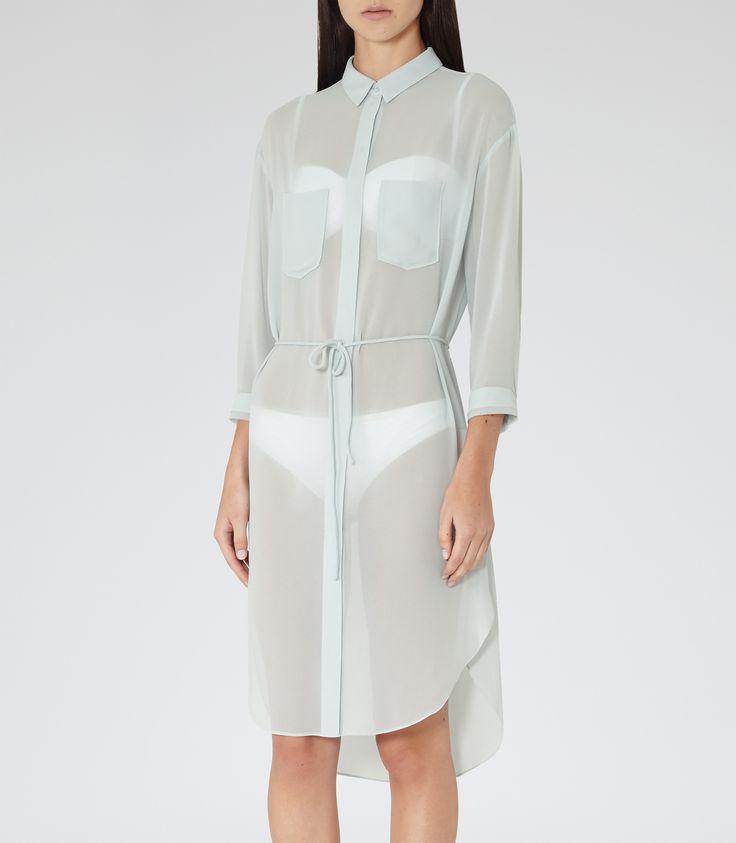 Womens Abyssal Blue Chiffon Shirt Dress - Reiss Vanda