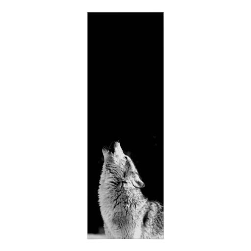 Wolf Howling Panoramic Poster - B&W Wolf Posters