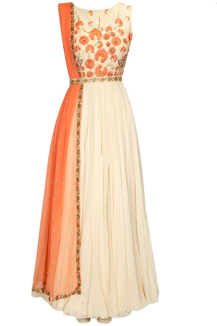 Ivory floral embroidered anarkali suit available only at Pernia's Pop Up Shop.