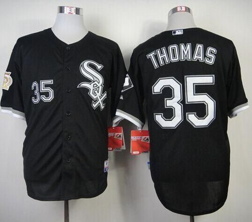 official photos f6af9 b92a6 White Sox #35 Frank Thomas Black w75th Anniversary ...