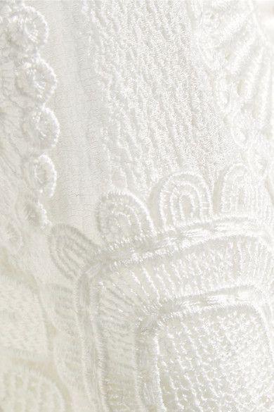 Chloé - Guipure Lace-trimmed Stretch-silk Mousseline Maxi Skirt - Cream - FR38