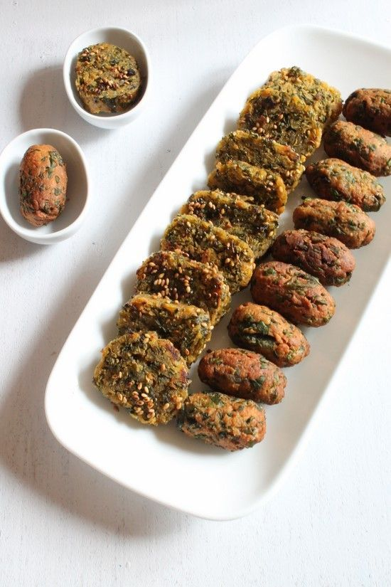 Methi Muthia - made from whole wheat flour, chickpea flour and fenugreek leaves, it is steamed or fried.