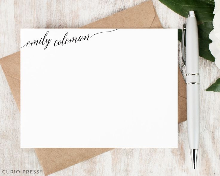 Personalized Note Card Set / Flat Personalized Stationary / Custom Stationery Personalised Notecards / Thank You Cards // SLANTED SCRIPT by CurioPress on Etsy https://www.etsy.com/listing/258396068/personalized-note-card-set-flat