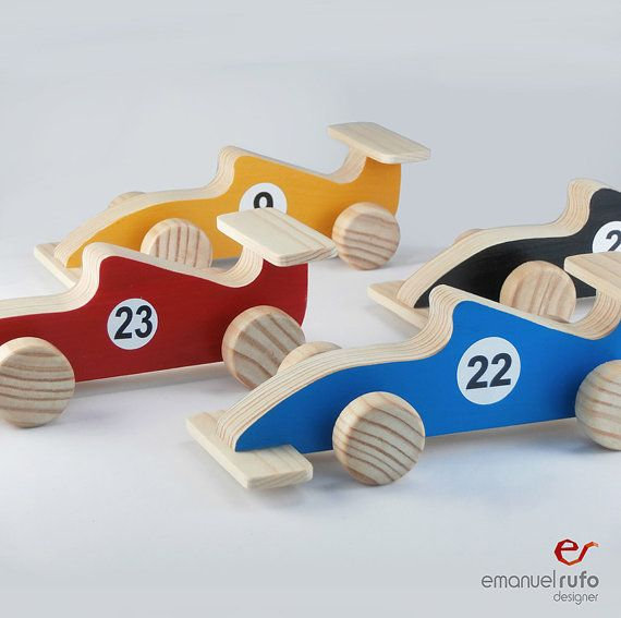 Wooden Toy Car - Handmade Wooden Toy for Boys - Gift for Kids, Children -  Formula 1 Race Car - Colors