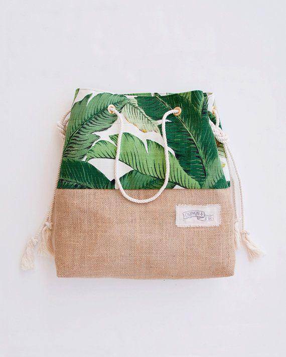 Vert Banana Leaf Beach Bag Tote Tropical Palm Print