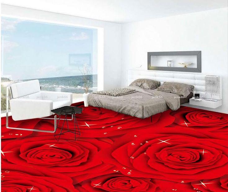 3d пол обои Красная Роза Мода 3D напольные Пользовательские Фотография самоклеящиеся 3D пол Обои этаже росписи