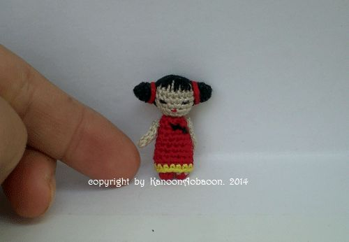 This adorable chinese doll               She is miniature crochet doll               She tall 1.2 inch  (3 cm.)             ...