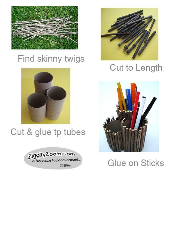 Fathers Day gift kids can make ... A Twig Pencil Holder that's really useful ... Dad will love it!    Ziggity Zoom