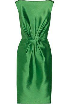 Badgley Mischka Gathered satin dress | THE OUTNET