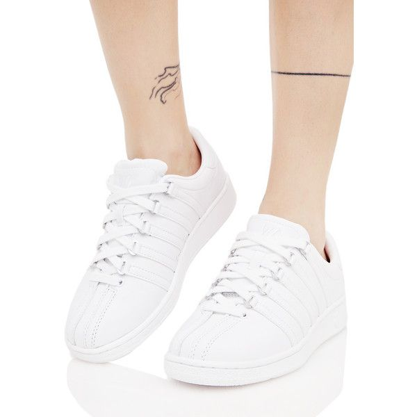 K Swiss Classic White VN Sneakers featuring polyvore, women's fashion, shoes, sneakers, leather shoes, platform shoes, white trainers, white platform sneakers and leather platform shoes