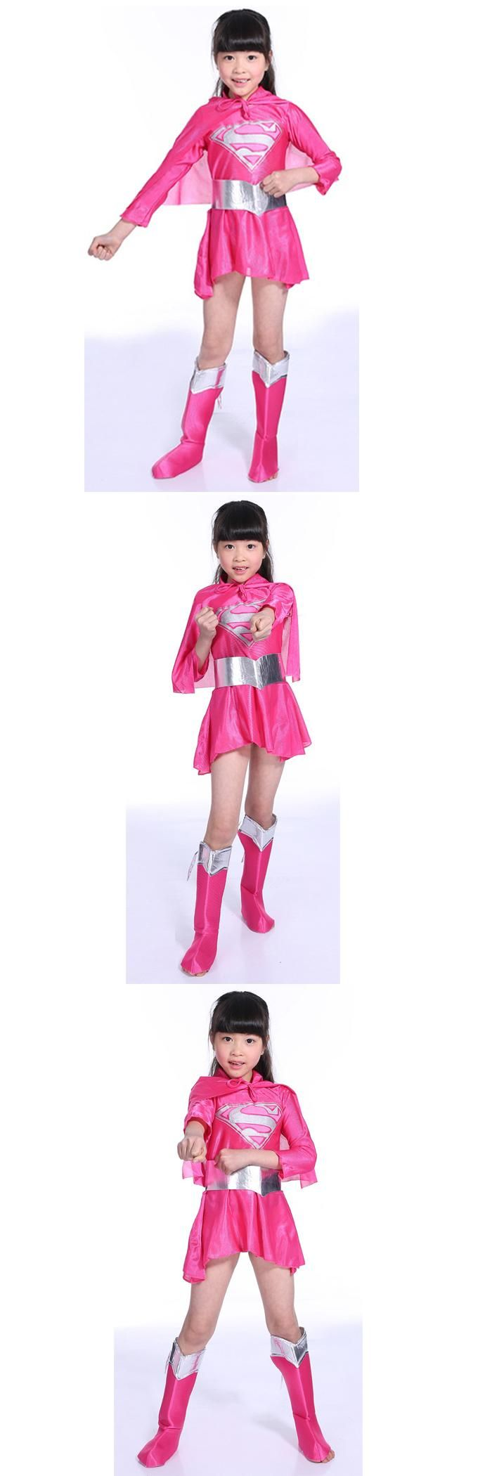Pink Supergirl Superhero Hero Superman Fancy Dress Up Girl Kids Costume