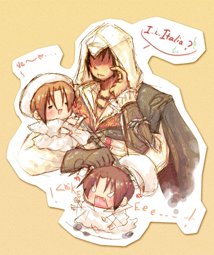 """Ezio n Chibitalia by HelloHuman.deviantart.com on @deviantART - lol - Now there's an idea for a crossover: Ezio Auditore from """"Assassins Creed II"""" and little Feli and Lovi."""