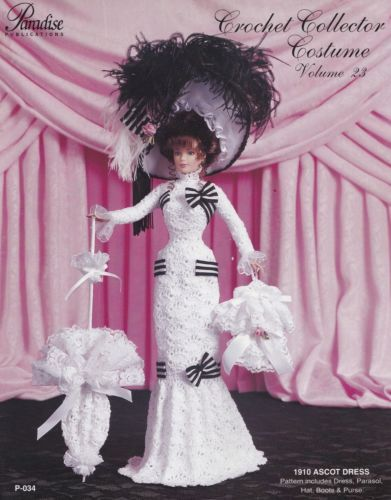 1910-Ascot-Dress-Vol-23-Paradise-Publications-Crochet-Doll-Clothes-Pattern-P-034