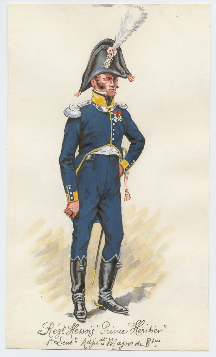Grand Duchy of Hesse; Erbprinz Regiment of Infantry, 1st Lieutenant-Batallion Adjutant Major, 1808-12 by P.A.Leroux
