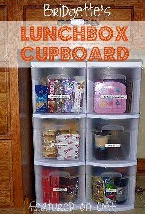 Love this lunchbox cupboard that Bridgette did - featured on OMF http://media-cache0.pinterest.com/upload/133137732704218413_JrZNAn15_f.jpg organizemadefun organizing madness