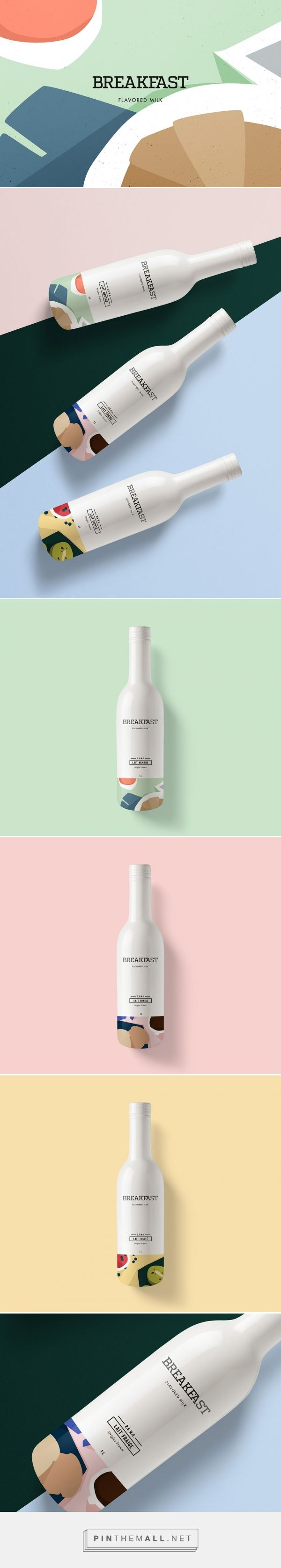Breakfast Milk concept designed by Kali Day (France) - http://www.packagingoftheworld.com/2016/03/breakfast-flavored-milk-concept.html