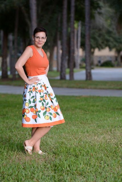 A Skirt Makeover: Florida Oranges   The Girl with the Star-Spangled Heart: A Skirt Makeover: Florida Oranges