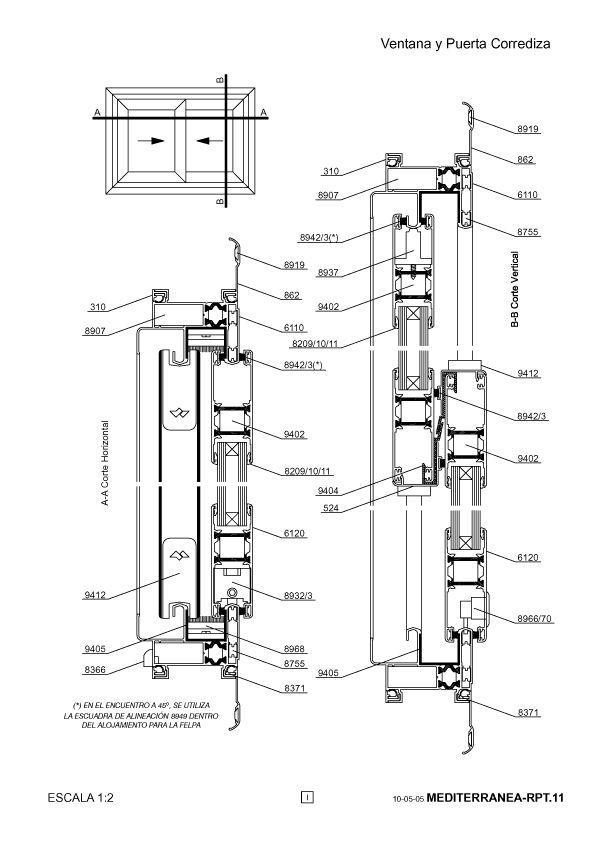 Carpinter a de aluminio con ruptura de puente t rmico rpt - Detalle carpinteria aluminio ...