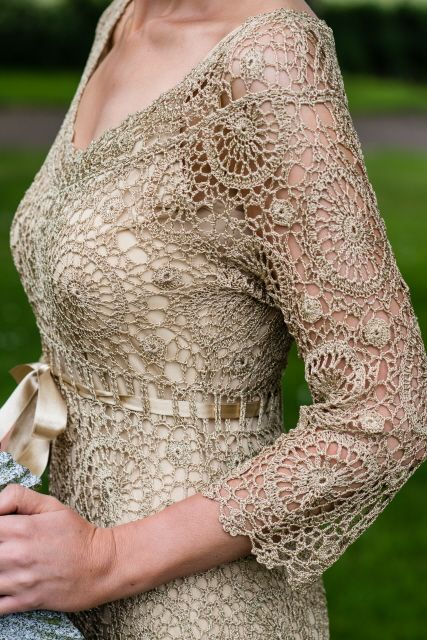 Gold crochet dress