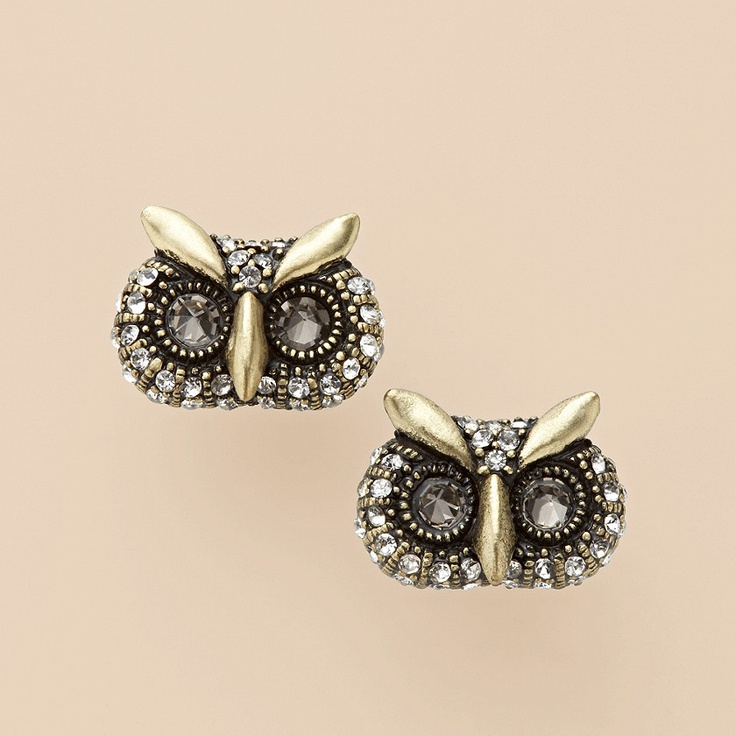 Glam Owl Stud Earrings - Fossil