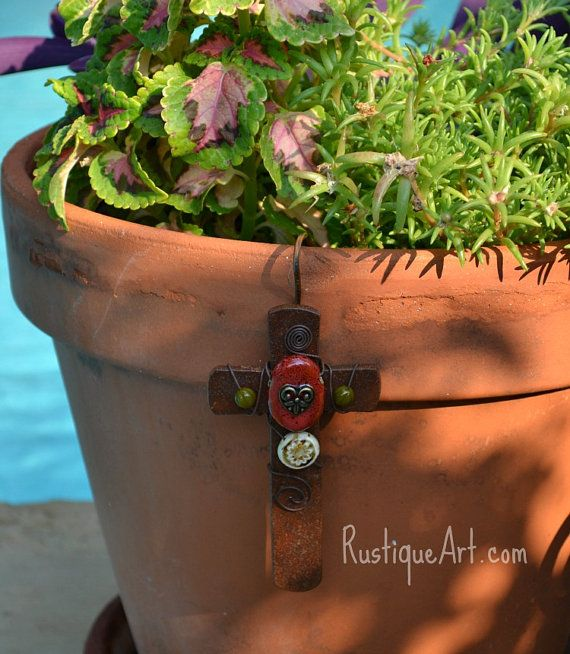Planter accessories! Rustic Craftsman Style Wall Cross by rustiqueart,