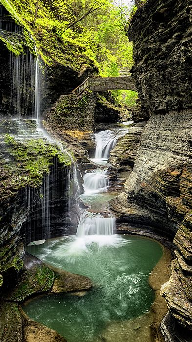 Rainbow Falls, Watkins Glen State Park, New York, USA                                                                                                                                                                                 More