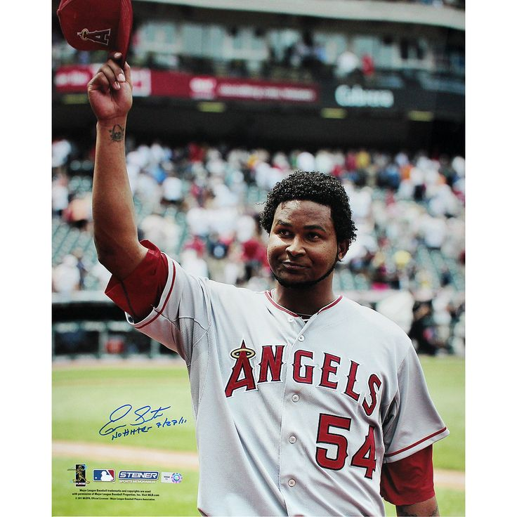 Ervin Santana Angels Road Jersey Salute To The Crowd Vertical 16x20 Photo w/' No Hitter, 7/27/11' Insc (MLB Auth)